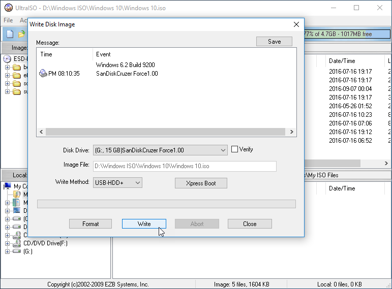 write disk image window - How to create a bootable USB Drive using UltraISO
